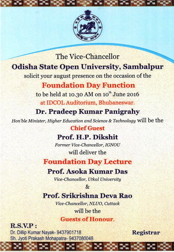 OSOU Foundation Day Invitation