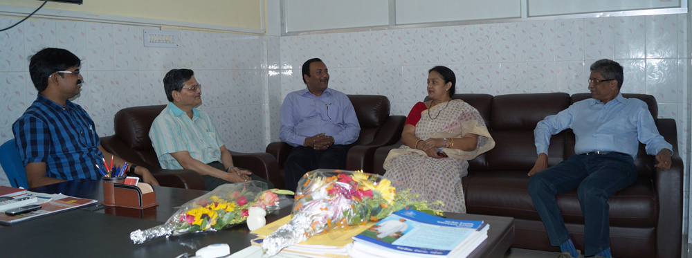 The VC, Registrar & Assistant Registrar of G.M. University greet Dr. Srikant Mohapatra on appointment of first VC of OSOU