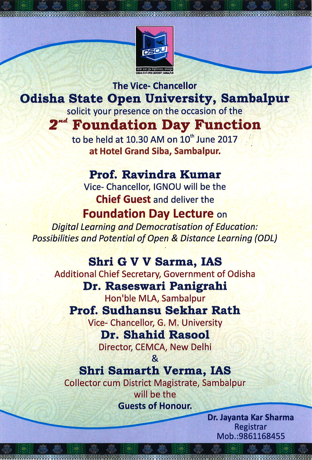 Invitation Card of 2nd Foundation Day Function of OSOU