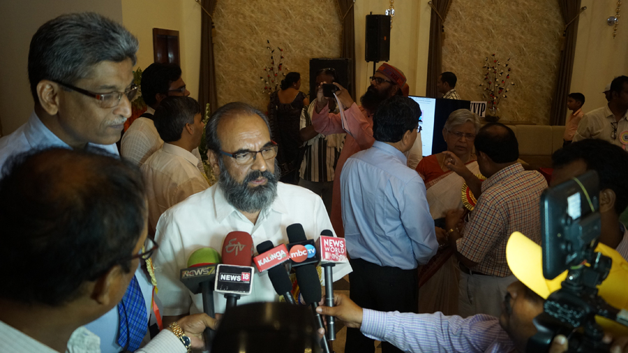 Answering to Media on 2nd Foundation Day Function of OSOU by Prof. Ravindra Kumar
